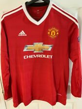BNWOT adidas Manchester United 2015/16 CHAMPIONS LEAGUE Jersey Long Sleeve L