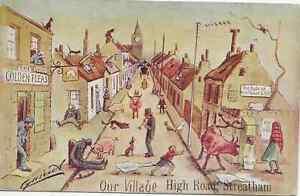 London, Comedy by Cynicus, High Street Streatham, overprint, coloured postcard