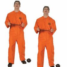 Mens Prisoner Orange Convict Jumpsuit Fancy Dress Convict Outfit Adults Costume