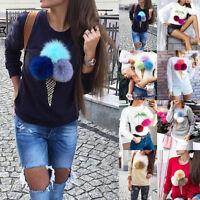 Women Long Sleeve 3D Plush Sweater Pullover Hoodie Sweatshirt Casual Jumper Top#