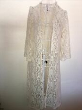 Mauve Brand Ivory Floral Embroidered Lace Open Cardigan Duster Kimono Size L