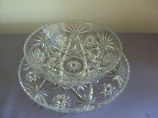 Vintage Cut Glass Starburst Bowl And Platter