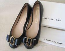 NIB Marc Jacobs Womens Interlock Leather Ballet Flats Sz 37 7 Black M9001640