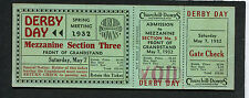 1932 Kentucky Derby full unused Horse Race ticket Burgoo King Churchill Downs