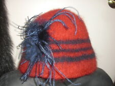 Handmade Wool Felt Hat w/Beads   Hat Hautees   6504