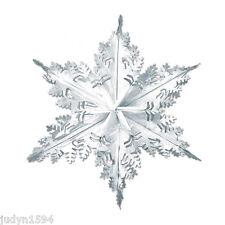 LARGE METALLIC SILVER SNOWFLAKE HANGING FOIL CHRISTMAS DECORATION FROZEN PARTY