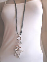 Modekette Bettelkette Damen Hals Kette Band lang Silber Schwarz Sterne Charms X4