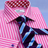 Red Pink Striped Formal Business Dress Shirt Wrinkle Free Plaids & Checks French