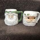 Vintage Santa Claus Face Mugs Ceramic Lot of 2 Christmas Holiday December