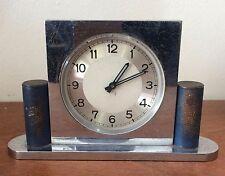 Streamline Art Deco Chromed Steel Desk Clock, Machine Age c 1930