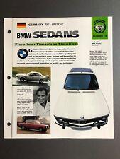 """1951 > BMW Sedans Timeline IMP """"Hot Cars"""" Spec Sheet Folder Brochure Awesome"""