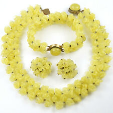 Rousselet France Yellow Poured Glass Flowers Necklace Bracelet Clip Earrings Set