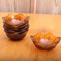 6 Dark Amber Brown Glass Grass Pattern Bowls Vintage
