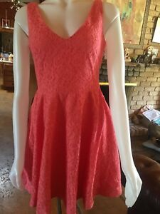 Ladies dress. Bright peach pink lace. Lined..  Size 12.New with tags.