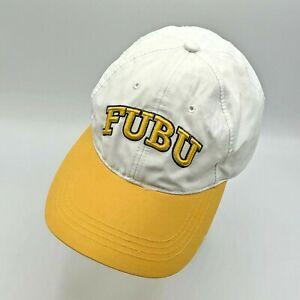 Vintage FUBU White & Yellow Embroidered Strapback Baseball Hat Cap