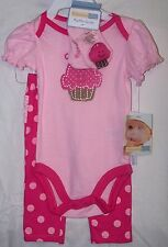 VITAMINS BABY 3 PIECE SET ROMPER RUFFLE POLKA DOT PANTS RATTLE SOCKS PINK 6 MO