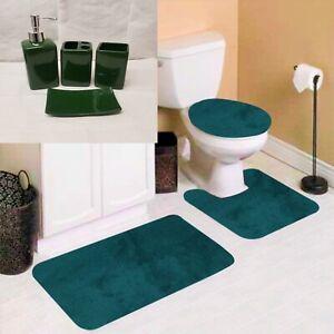 7PC SOFT BATHROOM SET BATH MAT CONTOUR RUG TOILET LID COVER + CERAMIC ACCESORIES