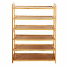 New Durable Bamboo Shelf Tier 6 Wood Home Furniture Entryway Storage Rack Shoe