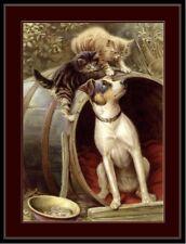English Print Picture Jack Russell Terrier Puppy Dog Kitten Cat Kittens Cats Art