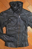AllSaints Women's Black BELVEDERE Leather Biker Jacket UK 6