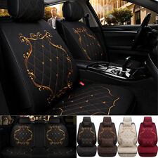 whole surrounded car seat cover 5seat Luxury Linen Embroidery seat cushion black