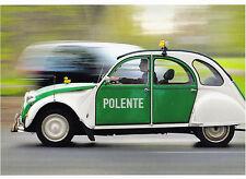 """Postkarte: Auto: 2 CV Ente geschmückt mit Gummienten im Polizeilook - """"Polente"""""""