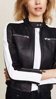 Black Leather Jacket Women Slim Fit Biker Motorcycle Lambskin Size S M L XL XXL