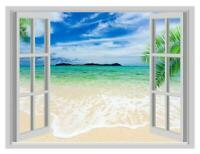 3D Window Exotic Beach Palm Trees View Wall Stickers Mural Decals