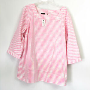 Talbots Plus Womens 2X Top Womens Pink Stripe Blouse NWT $99