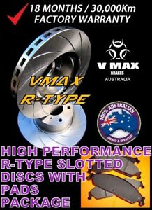 R SLOT fits TOYOTA Landcruiser UZJ200 VDJ200 07 Onwards FRONT Disc Rotors & PADS