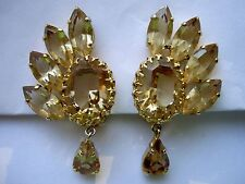 Vintage Christian Dior 1961 Germany Rhinestone Dangle Couture Runway Earrings