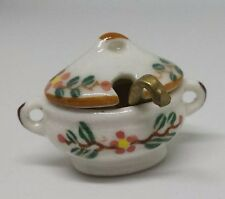 Dolls House Miniature 1:12th Scale ceramic floral lidded tureen and ladle