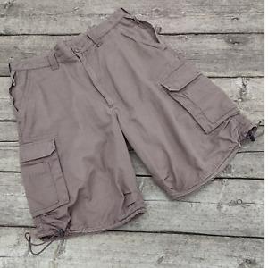 """Weird Fish Men's Brown Cotton Cargo Shorts Size M (34-36"""")"""