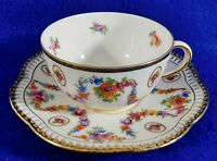 Schumann Bavaria Germany Floral 24K Gold Trim Reticulated Tea Cup & Saucer Set