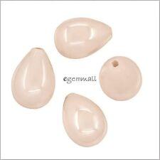 4 Pink Shell Pearl Teardrop Drop Half Top Drilled Beads 8x11mm #75118