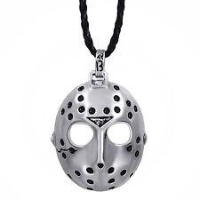 "Men Friday the 13th Jason's Mask Horror Pewter Pendant w/ 20"" Choker Neckcklace"