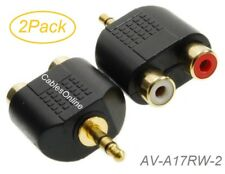 """2Pack 3.5mm (1/8"""") Stereo Male to 2-RCA Red/White Female Audio Adapters"""