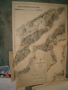 Vintage Admiralty Chart 2429 MEDITERRANEAN - THE DARDANELLES 1871 edition