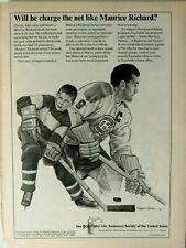 "Maurice Richards Montreal Canadiens Equitable 1965 Original Print Ad 8.5 x 11"""