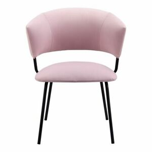 "23"" W Set of 2 Adelle Dining Chair Pink 100% Polyester Steel Frame Modern"