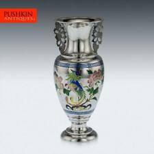 More details for antique 19thc chinese solid silver & enamel vase, bao cheng, beijing c.1890