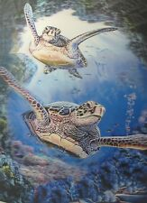 "3D Lenticular Picture 3D two sea turtles 2a2568 15 1/2""x 11 1/2 211"