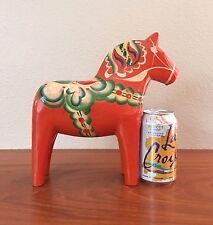 "Large 10.25"" Red Dala Horse, Likely Nils Olsson 1960s Sweden Vintage Folk Art"