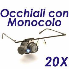 OCCHIALI MONOCOLO LENTE INGRANDIMENTO 20 X CON LUCE LED OROLOGI GIOIELLI