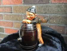 Early ANRI Carved Wood Bobble Head Figural Toothpick Holder