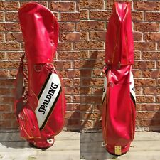Spalding  Vintage Leather Golf Red Bag With Cover