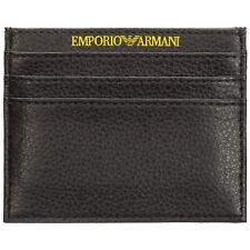 EMPORIO ARMANI MEN'S GENUINE LEATHER CREDIT CARD CASE HOLDER WALLET BLACK 381