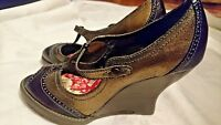 NEW KENZIE 'FLIER' WOMEN'S SHOES, BRONZE/BROWN LEATHER, Sz 8.5M, WEDGE HEEL