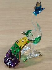 MINIATURE PEACOCK HAND BLOWN GLASS ART PEACOCK FIGURINE ANIMAL SOUVENIR GIFT