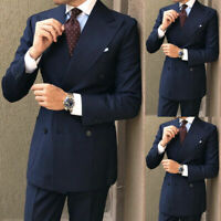 Men Navy Blue Double Breasted Groom Tuxedo Suit Wedding Suit Prom Blazer Custom
